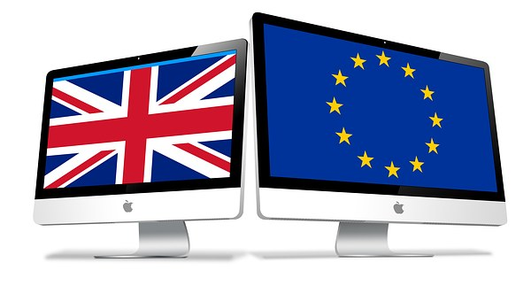 Brexit can make it harder to go to European Countries laptops with UK and EU flag
